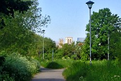 York Minster from the cycle track. St Nicks is only about a mile from the centre of York!