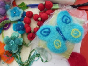 Felted decorations made by Pam Mills