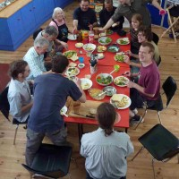 Our Eco-Active volunteers enjoying zero-mile lunch from Jean's 'square foot garden'