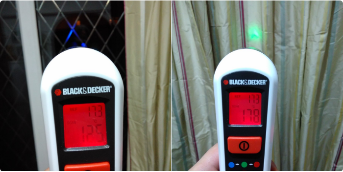 A thermal leak detector in action - showing the difference in temperature between patio doors and closed curtains which help keep the cold out.