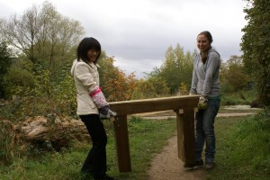 Volunteers with a bench to be installed on site