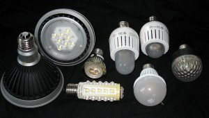 Assorted LED lamps (photo by Geoffrey.landis at en.wikipedia)