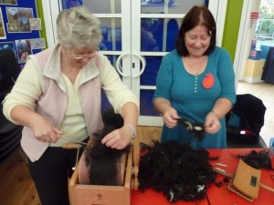 Eco-Crafters preparing wool for felting
