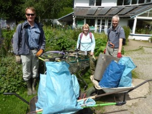July 2016 beck cleanup volunteers with some of the rubbish they found along the stream