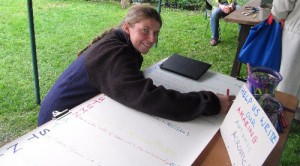 York MP Rachael Maskell adding a line to our poem (by AE Dean)