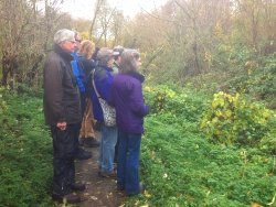 """The nearest we've had to a """"twitch"""" at St Nicks.. Wildwatchers waiting to see the Water Rail on Osbaldwick Beck."""