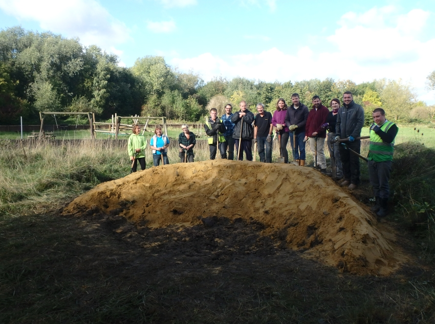 LendLease and our regular volunteers by the finished bee bank