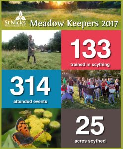 Meadow Keepers 2017: 133 trained in scything, 314 attended events, 25 acres scythed