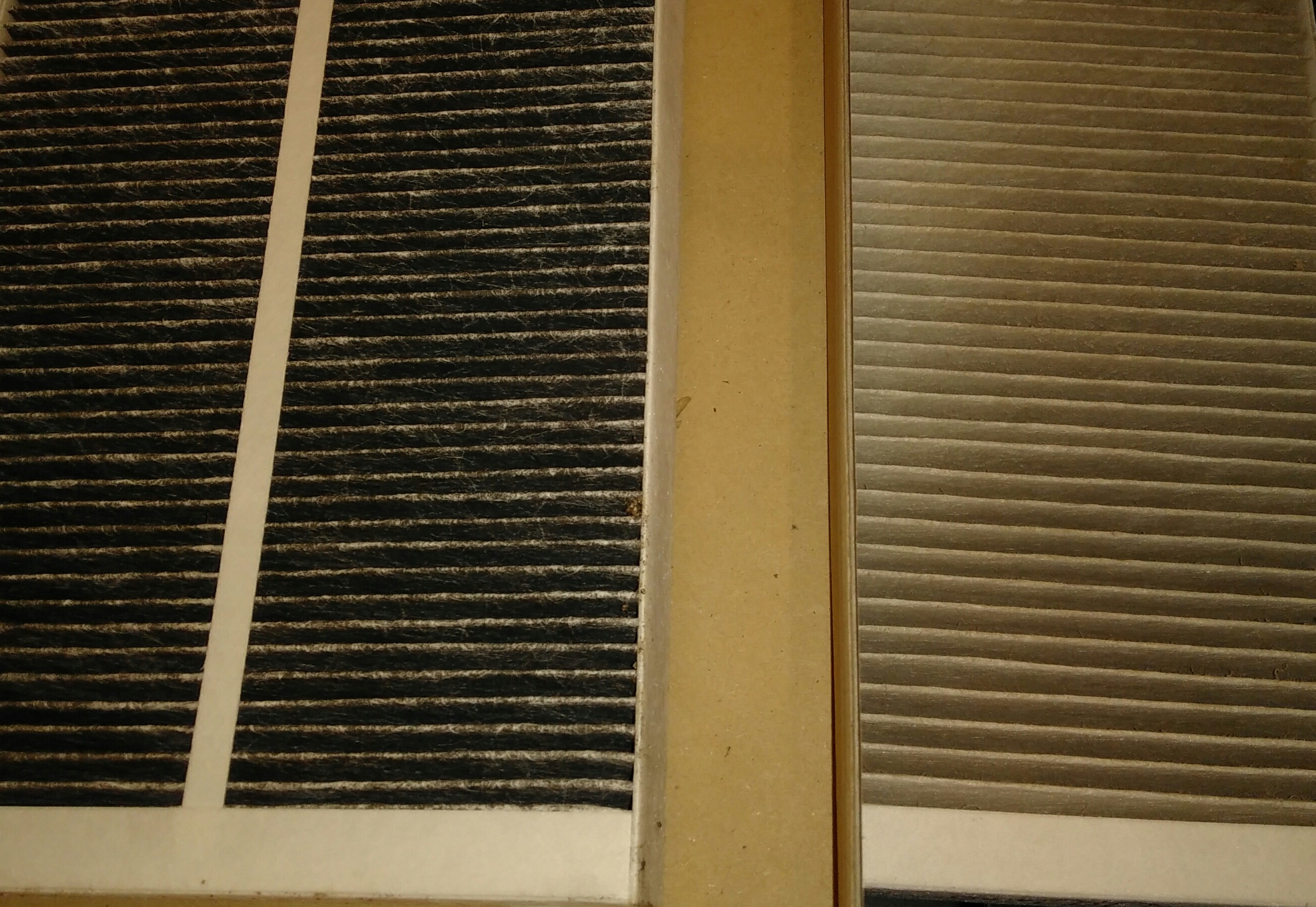 "Filters from a York Passivhaus - the one on the left filters ""fresh"" outside air coming in and the other inside air going out"