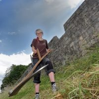 Eithne, our chief Grassland Management Volunteer (by Lewis Outing)