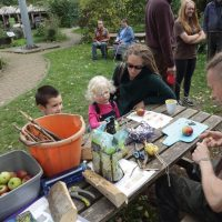 Bird feeders making, by L. Outing