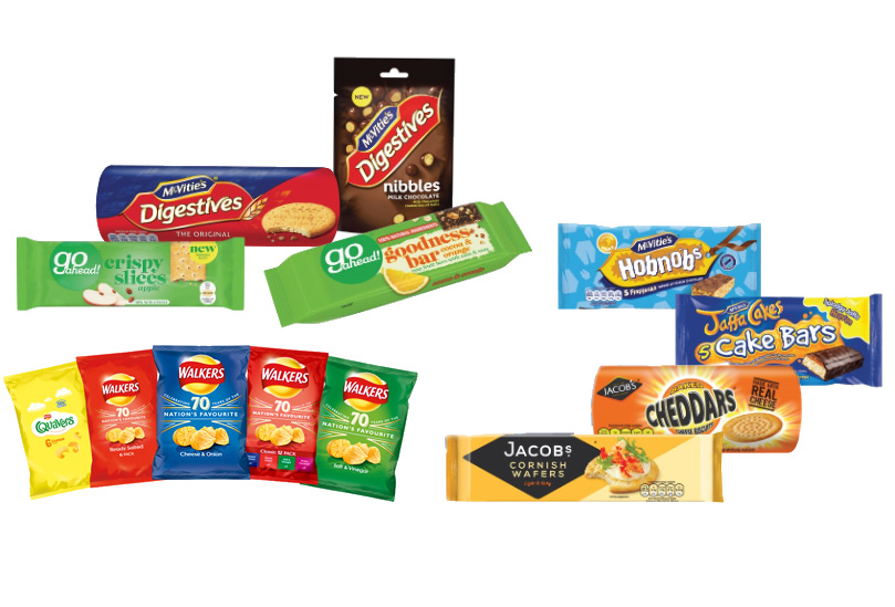 Crisps, crackers, biscuits and cake