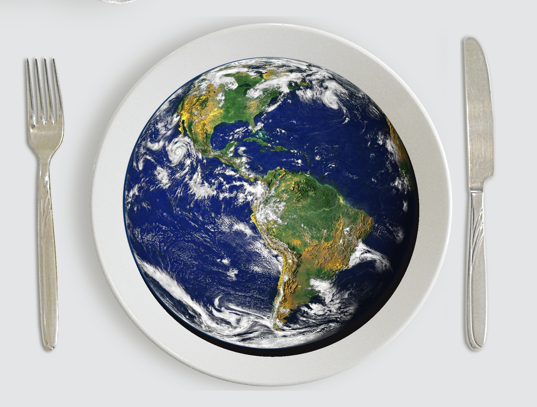 Earth on a plate (images from Pixabay)