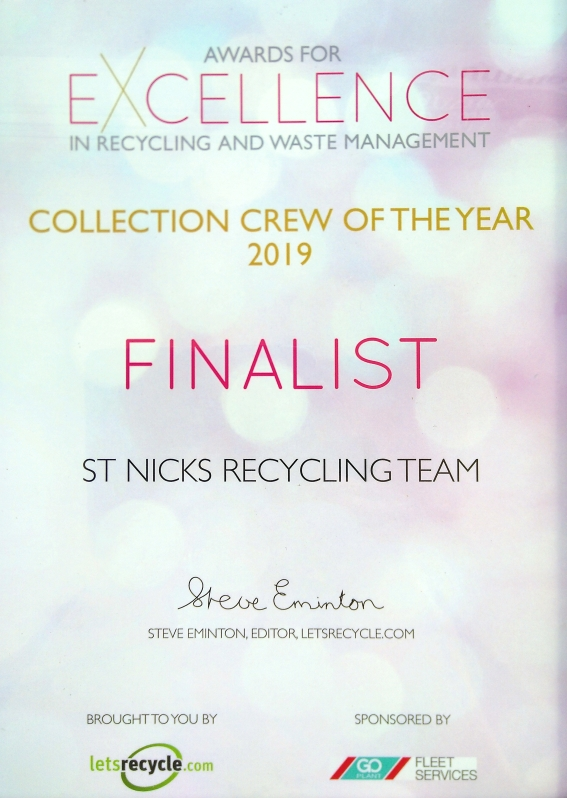 Award for Excellence in Recycling and Waste Management Collection Crew of the Year 2019 Finalist certificate