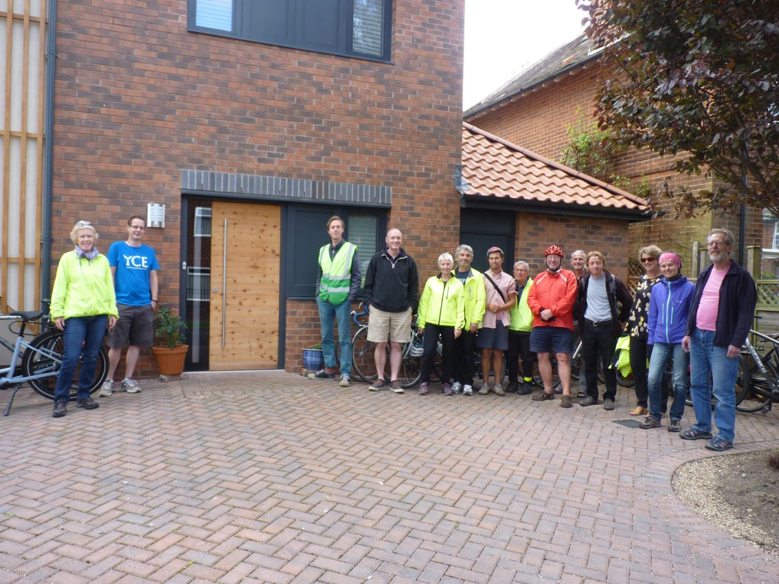 Cyclists at the Fulford Passivhaus