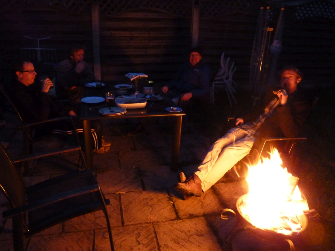 Housewarming Party: relaxing by the fire