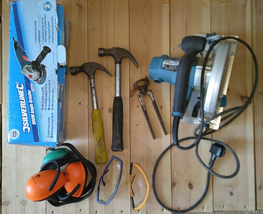 borrowed tools and protective gear