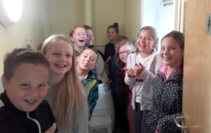 Carr Junior School pupils admiring (or having a laugh at?) our compost loo