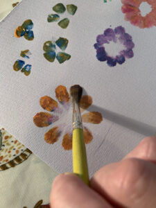 Paint splodge flowers by Ecotherapy tutor Emma McKenzie