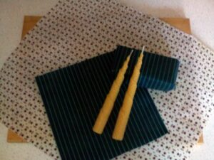 Besswax candles and wraps made by an Eco-Crafter