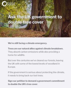 FoE petition to double tree cover