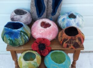felted bowls and other items made by Pam Mills