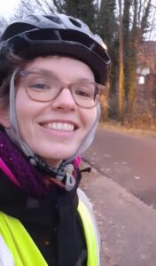 Tiphaine in cycling helmet