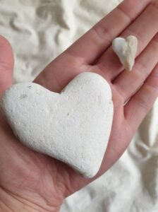 Heart shaped pebbles found on a beach